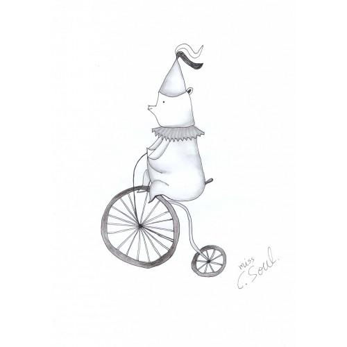 Circus Bear On Bicycle